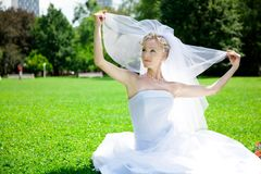 Young beautiful  bride outdoor Stock Photos