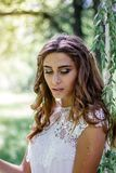 Young and beautiful bride portrait on wedding session. stock image