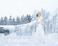Young and beautiful bride posing on a snowy winter background Royalty Free Stock Photography