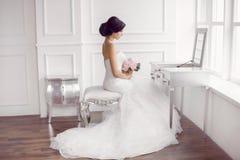 Young beautiful bride preparation at home Royalty Free Stock Photo