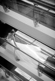 Young beautiful bride standing against balustrade Royalty Free Stock Photo
