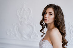 Young beautiful bride standing in antique interior ornamental design done with a moldings. Studio shot Stock Images