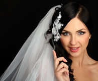 Young beautiful bride talking on mobile phone stock images