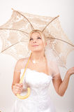 Young beautiful bride with umbrella on her wedding Royalty Free Stock Image