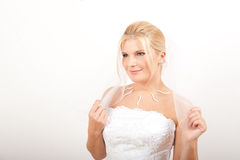 Young beautiful bride with veil Stock Photo