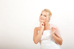 Young beautiful bride with veil Stock Photography
