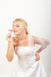 Young beautiful bride with veil on her wedding Royalty Free Stock Images