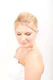 Young beautiful bride with veil on her wedding Royalty Free Stock Photography