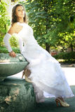 The young beautiful bride in white dress Royalty Free Stock Photos