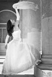 The young beautiful bride in white dress Royalty Free Stock Photo
