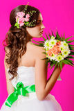 Young beautiful bride in a white dress Royalty Free Stock Images