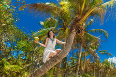 Young beautiful bride in white dress on the palm tree on a tropi Stock Image