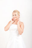 Young beautiful bride in white wedding dress Royalty Free Stock Photos