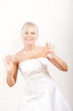 Young beautiful bride in white wedding dress Stock Image