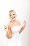 Young beautiful bride in white wedding dress Royalty Free Stock Photo