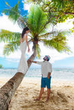 Young beautiful bride in white wedding dress on the palm tree an Stock Photos