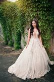 Young Beautiful Bride Woman In White Dress Outdoors On The Nature Royalty Free Stock Photography