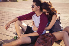 Young beautiful brunette caucasian sexy adult woman and men coup. Young beautiful brunette caucasian sexy adult women and men couple in love on a date outdoors Royalty Free Stock Image