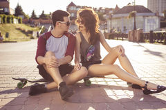 Young beautiful brunette caucasian sexy adult woman and men coup. Young beautiful brunette caucasian sexy adult women and men couple in love on a date outdoors Royalty Free Stock Photos
