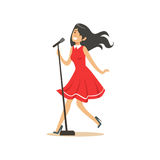 Young beautiful brunette girl in red dress singing a song into the microphone vector Illustration Stock Images