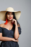 Young beautiful brunette in hat Royalty Free Stock Image