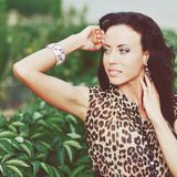 Young beautiful brunette in a leopard dress outside Royalty Free Stock Photo
