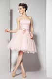Young beautiful brunette in pink dress on white Stock Image