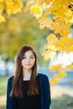Young beautiful brunette woman autumn outdoors Stock Image