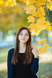 Young beautiful brunette woman autumn outdoors Stock Photo