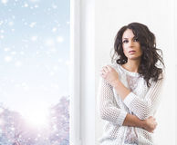 Young and beautiful brunette woman being alone Royalty Free Stock Image