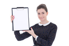 Young beautiful brunette woman in black dress holding clipboard Royalty Free Stock Photo