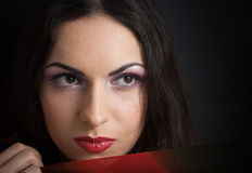 Young beautiful brunette woman closeup portrait Royalty Free Stock Image