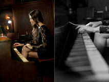Young beautiful brunette woman in elegant black dress playing on piano. Sensual romantic lady with long dark hair Royalty Free Stock Photography