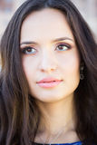 Young beautiful brunette woman with fashion makeup, headshot Royalty Free Stock Photo