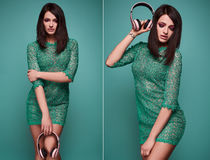 Young beautiful brunette woman with headphones Royalty Free Stock Photos