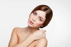 Young beautiful brunette woman with natural makeup Royalty Free Stock Photo