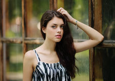 Young beautiful brunette woman portrait against wi Royalty Free Stock Image