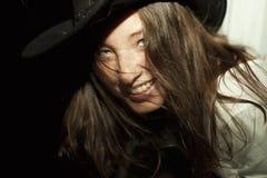 Young beautiful brunette woman wearing cowboy hat Stock Photography
