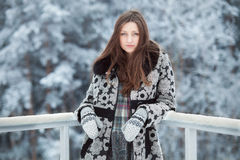 Young beautiful brunette woman in winter outdoors art portrait Royalty Free Stock Photos