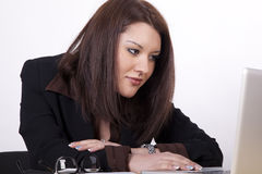 Young beautiful business woman. Working at the office Stock Images