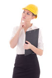 Young beautiful business woman architect in builder helmet dream Royalty Free Stock Photos