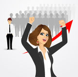 Young beautiful business woman cheering Stock Image