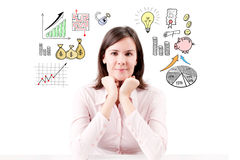 Young beautiful business woman dreaming her career. Stock Photography