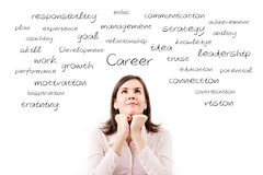Young beautiful business woman dreaming her career concept. Stock Image