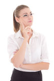 Young beautiful business woman in glasses dreaming isolated on w Stock Images