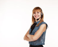 Young beautiful business woman with headphones Stock Photo