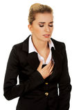 Young beautiful business woman with heartache Stock Photos