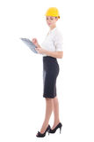 Young beautiful business woman in helmet with clipboard isolated Stock Photos