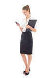 Young beautiful business woman holding phone isolated on white. Background Royalty Free Stock Photos