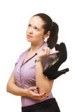 Young beautiful business woman holding shoes Stock Images